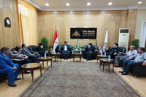 رئيس جامعة بنها يستقبل وفدا من الكنيسة الأرثوذكسية
