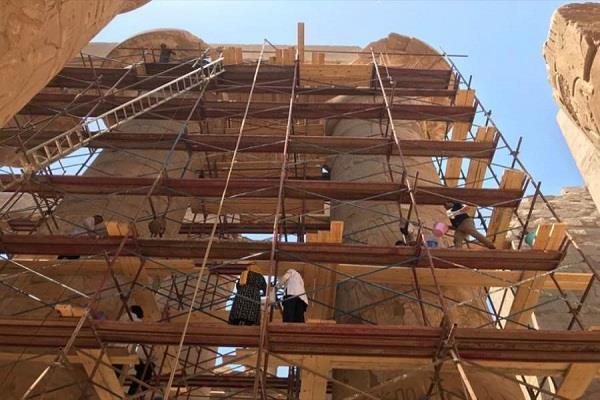 الآثار: ترميم صالة الأعمدة الكبرى لمعبد الكرنك تمهيدا لاحتفالية تطوير طريق الكباش